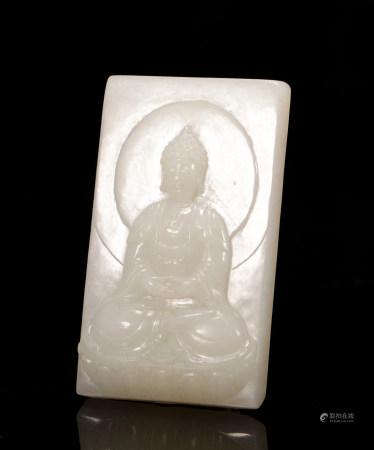 Hetian Jade Buddha plate from qing Dynasty
