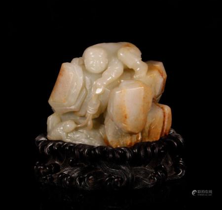 Qing Dynasty hetian Jade toad ornaments