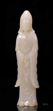 Qing Dynasty hetian jade Guanyin