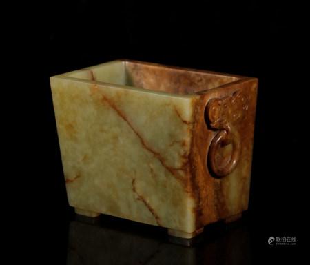 Qing Dynasty Hetian yellow jade four-legged censer