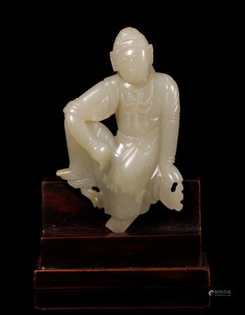 Ming Dynasty hetian jade guanyin sitting statue