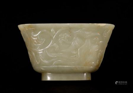 Liao Dynasty Hetian jade double phoenix cup