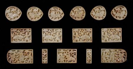 Yuan dynasty lion figure Hetian Jade belt plate