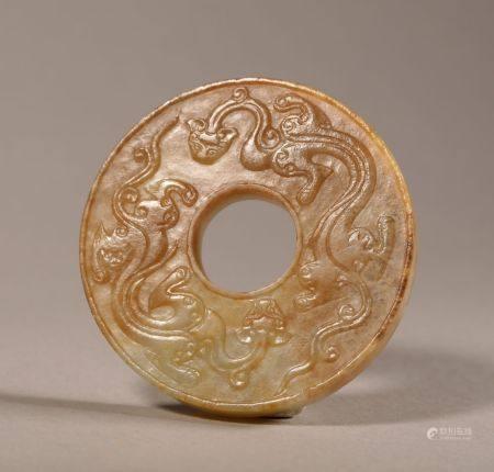 Ming dynasty chi dragon pattern jade