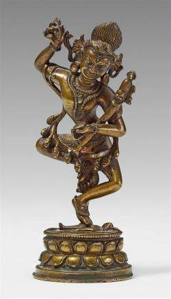 A Northeast Indian brass figure of Heruka. Pala style, 12th century