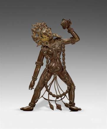 A Tibetan bronze figure of a Sarvabuddha-Dakini. 17th/18th century