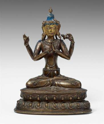 A Tibetan bronze figure of Shadakshari Avalokiteshvara. 17th century