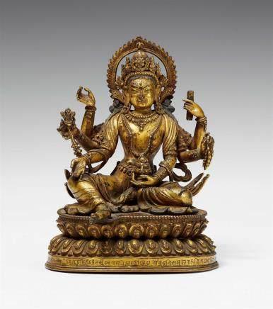 An exquisite Nepalese gilt bronze figure of Vasudhara. 18th century