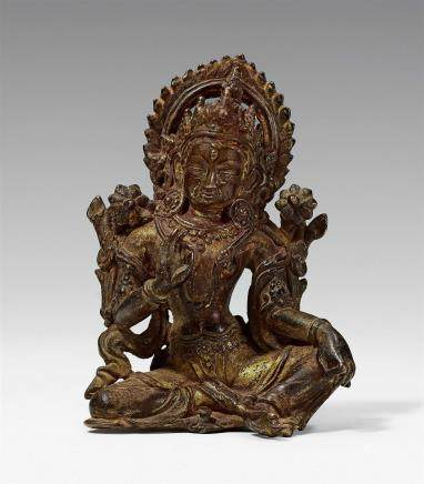 A Nepalese bronze figure of Lakshmi. 15th/16th century