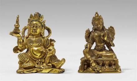 Two Sinotibetan gilt bronze miniature figures of Virupaksa and Syamatara.  18th/19th century