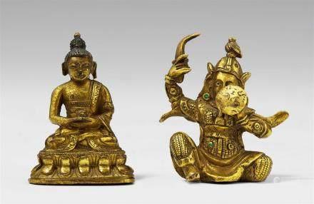 Two Sinotibetan gilt bronze miniature figures. 18th/19th century