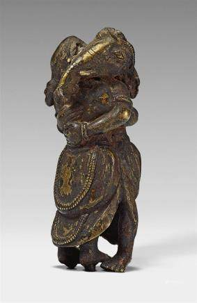 A rare Nepalese bronze figure of embracing Ganeshas. 18th century