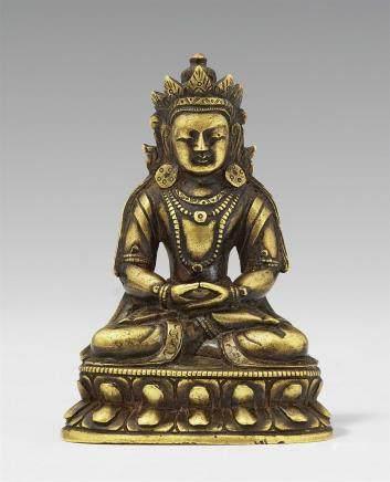 A Sinotibetan bronze figure of Buddha Amitayus. 18th century