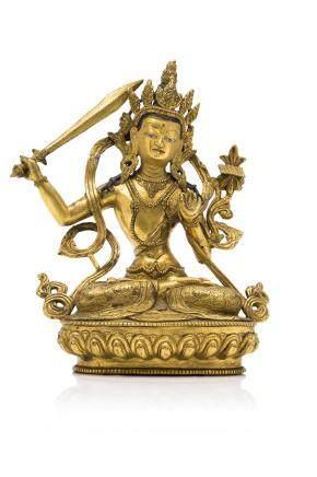 TIBET vers 1960 Statuette en bronze doré
