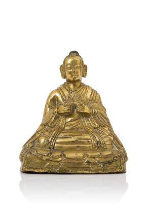 Tibet XVIIIe siècle Statuette en bronze doré