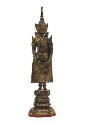 SIAM fin XIXe siècle Statuette en bronze laqué et doré
