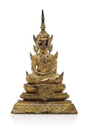 THAILANDE, période Rattanakosin, XIXe siècle Statuette en bronze laqué et doré