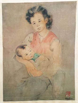 VAN THO (1917) Maternité polychrome sur soie