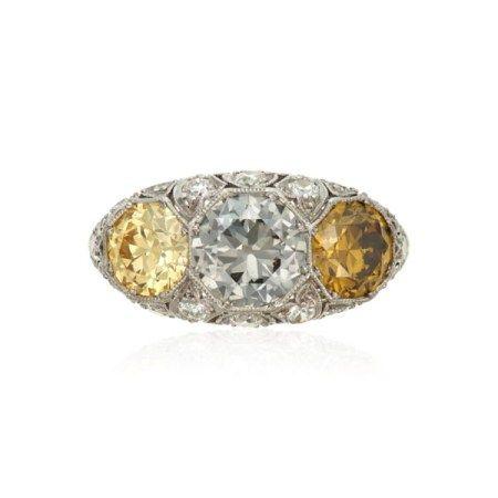 ART DECO COLORED DIAMOND AND DIAMOND RING