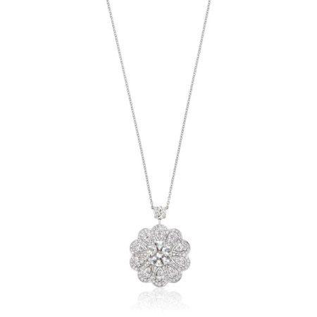 NO RESERVE   GRAFF DIAMOND FLOWER PENDANT NECKLACE