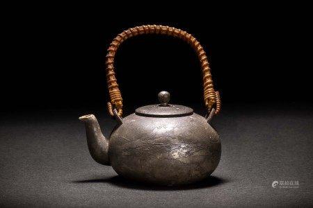在款 錫製 錫造山水紋 急須 茶壷