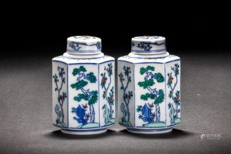 大清雍正年製款 門彩花紋六方茶壷一対