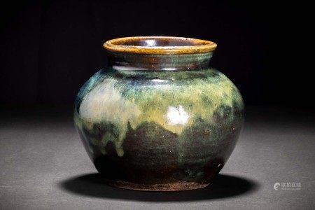 清代 海鼠釉 丸形壷