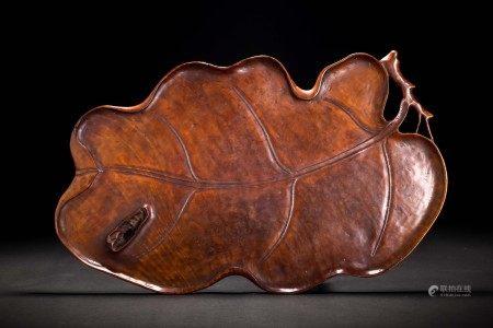 時代 天然木 玉杢 木雕葉紋 大葉盆 煎茶道具