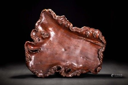 時代 天然木 木雕葉紋 大葉盆 煎茶道具
