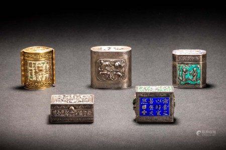 足紋款 銀製 景泰藍 人物獣花紋 盒子 5件