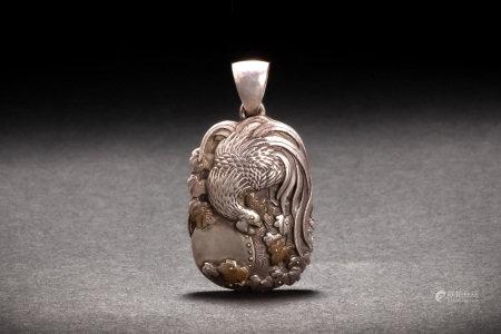 時代 銀製 銀雕金銅象嵌 太鼓鶏紋牌