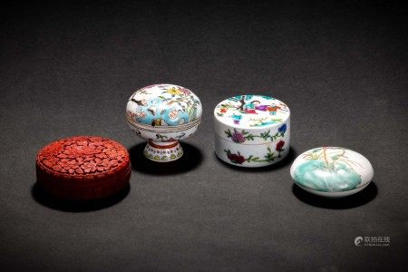 色絵花人物紋 堆朱 盒子 香合 4件