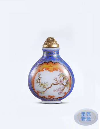 清涅白料珐琅彩开光菊花花卉鼻烟壶(1644-1912) A Chinese White Glass Enamel Flower Snuff Bottle Qing Dynasty(1644-1912)