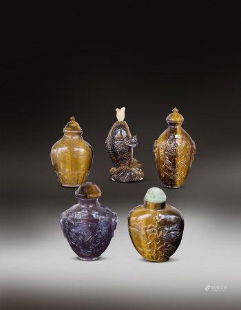 水晶等鼻烟壶物件一组(1644-1912) A Group of Crystal Snuff Bottle Qing Dynasty(1644-1912)