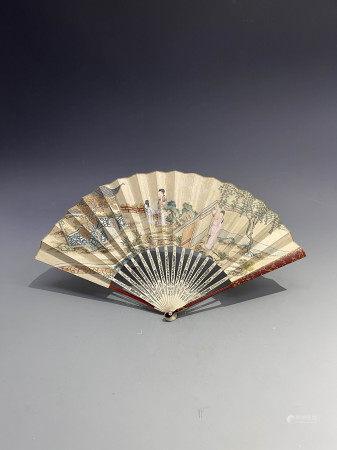清西厢记人物画成扇(1644-1912) A Chinese Painting Figure Fan Qing Dynasty(1644-1912)