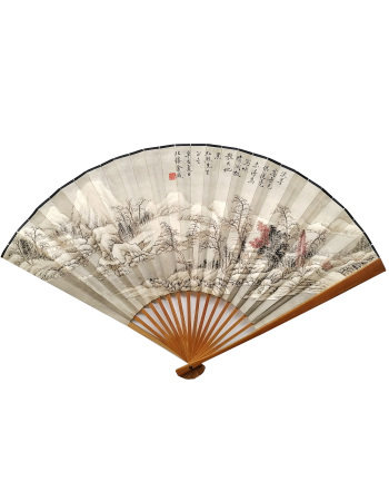 金城山水谭泽闿书法成扇 Jincheng Landscape and Tanzekai Calligraphy Fan