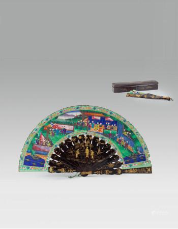 清黑漆描金人物成扇原配盒(1644-1912) A Chinese Black lacquered Figure Fan Qing Dynasty(1644-1912)