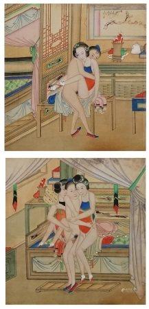 清代春宫图册页 Two Chinese Chungong Painting Qing Dynasty