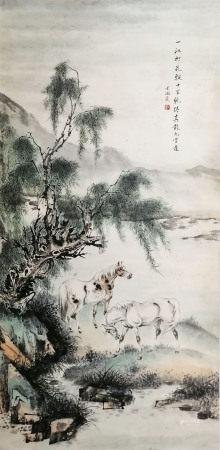 戈湘岚柳荫双骏图 Gexianglan Horse