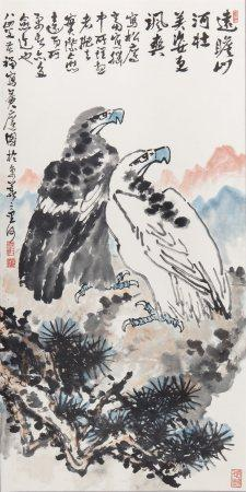 李苦禅松鹰图 Likuchan Hawks