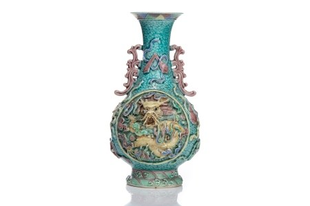 CHINESE TURQUOISE GLAZE VASE W/ HIGH RELIEF DRAGON