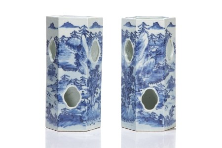 PAIR OF CHINESE BLUE & WHITE PORCELAIN HAT STANDS