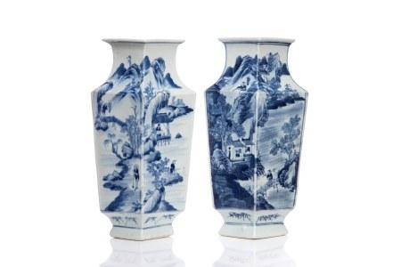 PAIR OF BLUE & WHITE LOZENGE-FORM JARS
