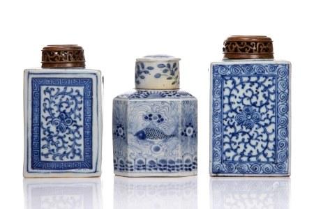 THREE BLUE & WHITE PORCELAIN CADDIES