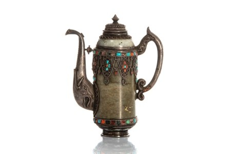 MONGOLIAN NEPHRITE JADE TEAPOT WITH APPLIED STONES