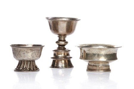 THREE TIBETAN SILVER CEREMONIAL STEM CUPS