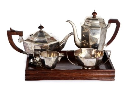 FOUR PIECE CHINESE EXPORT SILVER TEA & COFFEE SET