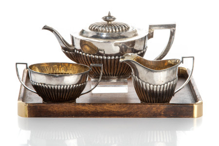 CHINESE EXPORT SILVER TEASET, 996g
