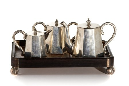 CHINESE EXPORT SILVER TEASET, 978g