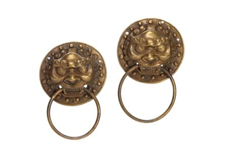 PAIR OF CHINESE BRONZE LION FACE HANDLES